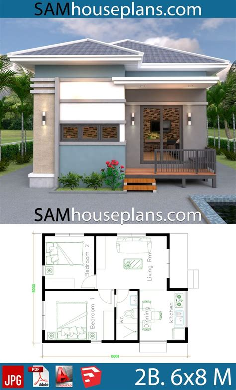 House Plans 6x8 with 2 Bedrooms Full Plans in 2020
