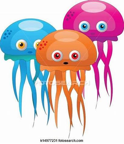 Jelly Fish Clipart Colorful Illustrations Vector Cartoon