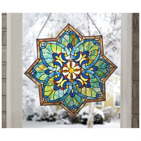 stained glass decor castlecreek star stained glass window panel 228097 decorative accessories at sportsman s guide