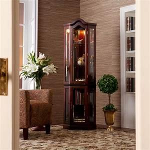 Amazon com Southern Enterprises Lighted Corner Display Cabinet, Mahogany Curio Cabinets