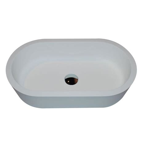 Vigo Navagio Matte Stone Vessel Sink In White With Linus
