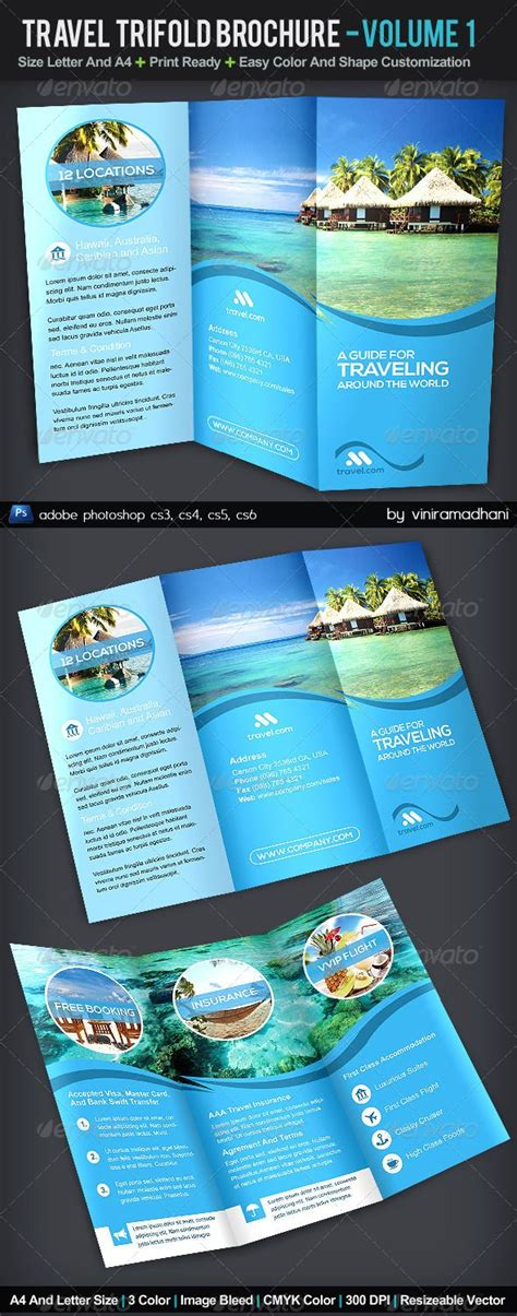 Adobe Photoshop Brochure Templates by Travel Trifold Brochure Volume 1 Adobe Photoshop