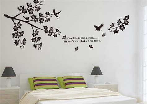 black branches birds large wall stickers flowers decals
