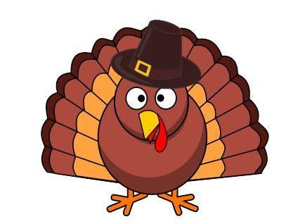 cartoon turkey  pilgrim hat thanksgiving clipart