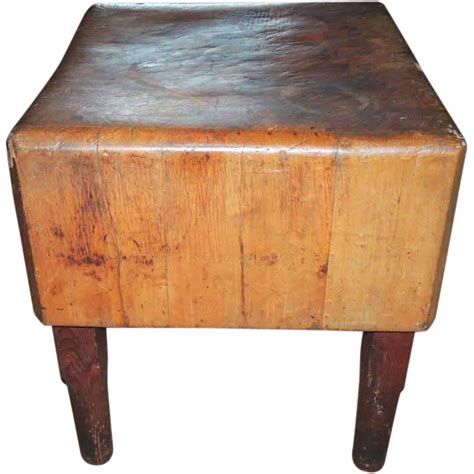 Antique Primitive Maple Butcher Block Table From