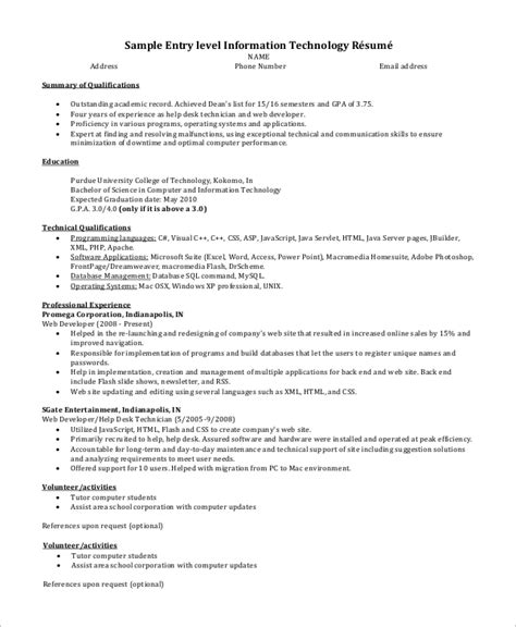 Skills In Information Technology Resume by Sle Entry Level Resume 9 Exles In Word Pdf