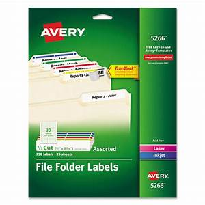 Avery 5266 permanent file folder labels trueblock laser for How to print file folder labels