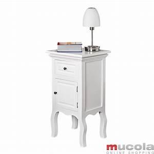 Nachttisch nachtkonsole schrank schlafzimmer weiss braun for Nachttisch schrank weiß