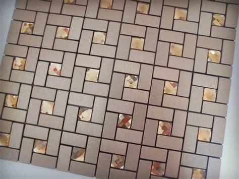 adhesive mosaic tile bronze brushed aluminum metal glass