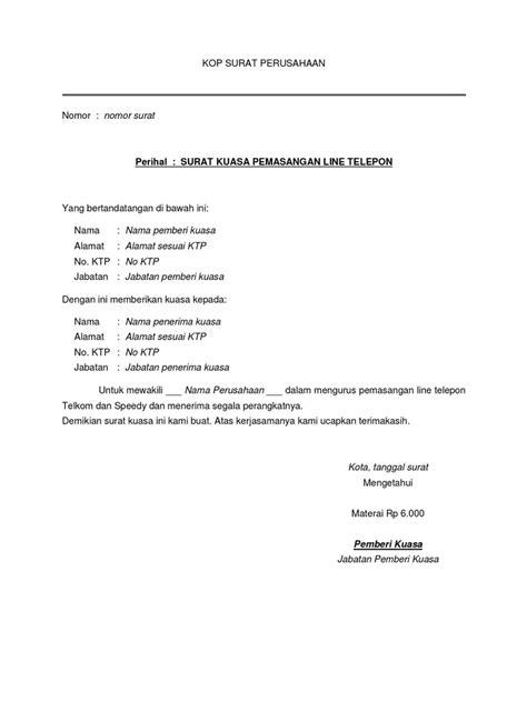 surat kuasa pemasangan telepon