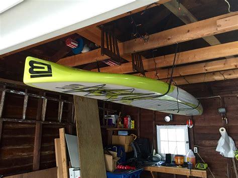 hi line garage sup hi line adjustable paddleboard ceiling storage