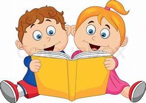 Vector illustration of Children cartoon reading a book ...