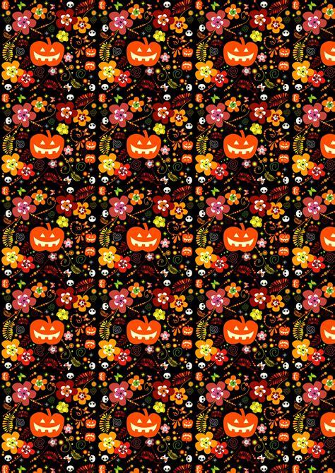 scrapbook paper halloween pumpkins  flowers