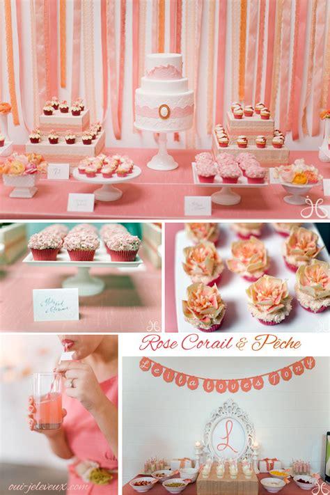 une decoration de mariage rose corail  peche oui je le