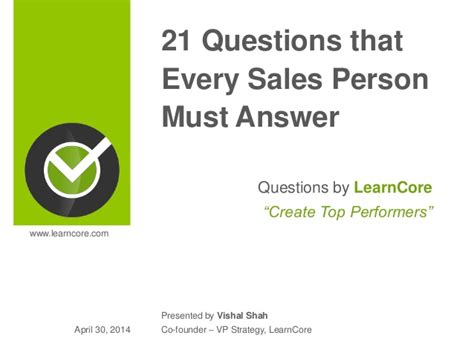 21 Questions That Every Sales Person Must Answer