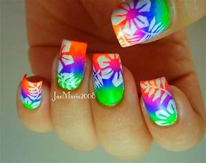 Summer Neons, Hawaiian Tropical Print Nail Design - YouTube