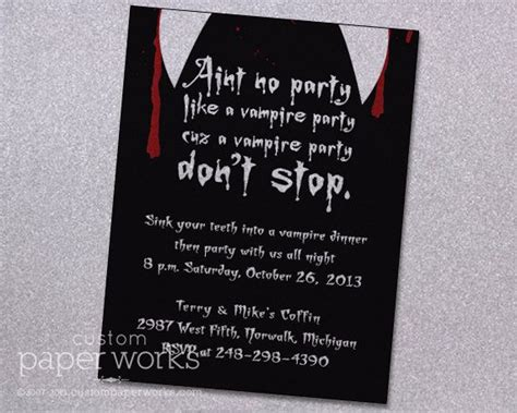vampire party halloween invitation  custom paper works
