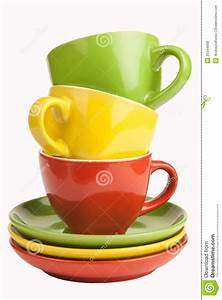 Set of colorful cups. stock photo. Image of colored, clean ...