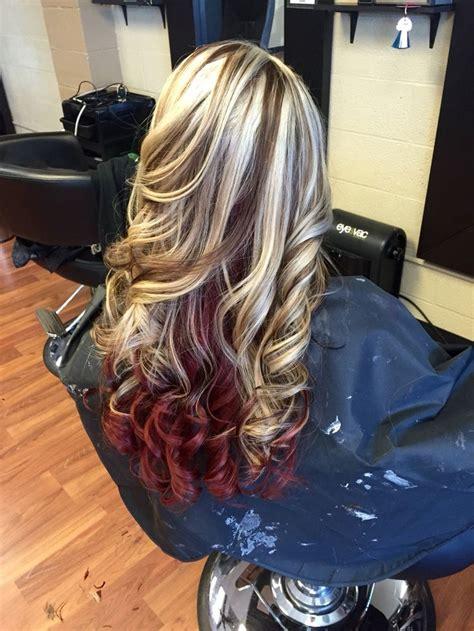 platinum blonde  mocha brown lowlights  red
