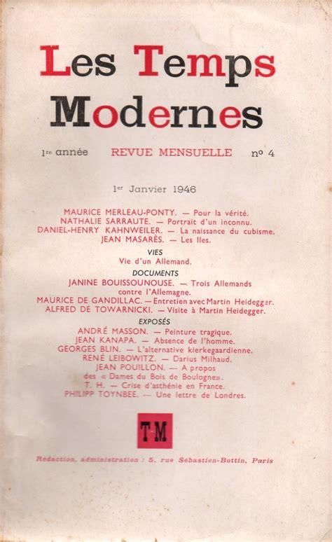 http www revues litteraires les temps modernes 1945 en cours