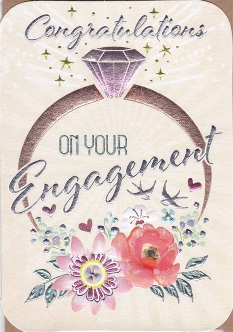 Engagement Ring & Flowers On Your Engagement Card
