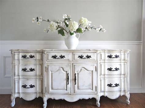 french provincial buffet table vintage hand painted antique white french provincial