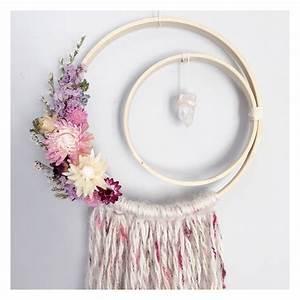 Crescent moon dreamcatcher boho dreamcatcher floral for Boho wall decor