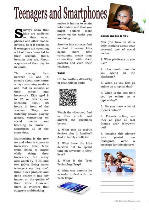 Teenagers And Smartphones Worksheet  Free Esl Printable Worksheets Made By Teachers