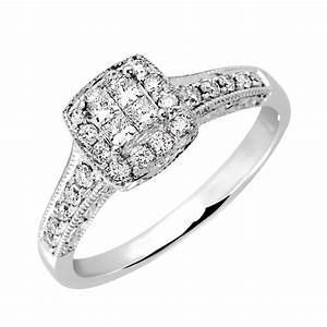 engagement ring with 040 carat tw of diamonds in 14ct With 14ct white gold wedding rings