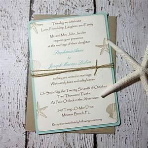Sample aqua beach wedding invitations wedding invitations for Beach wedding invitations with pictures