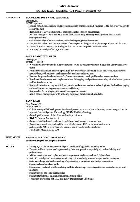 java lead resume samples velvet jobs