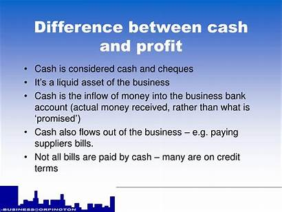 Profit Cash Difference Between Presentation Ppt Powerpoint