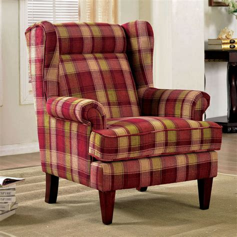 Plaid Recliner by Furniture Of America Shermin Traditional Plaid Patterned