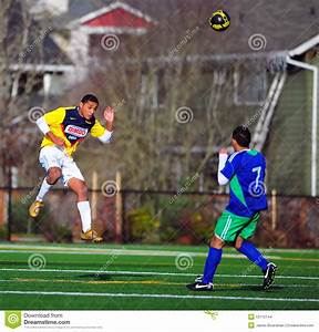 Mens club Soccer head ball editorial stock image. Image of ...