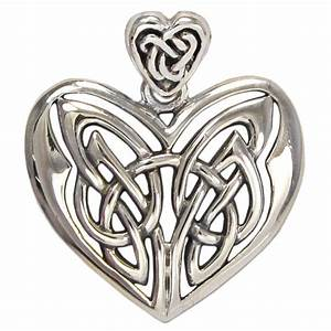 Large Sterling Silver Celtic Love Knot Heart Pendant Irish ...