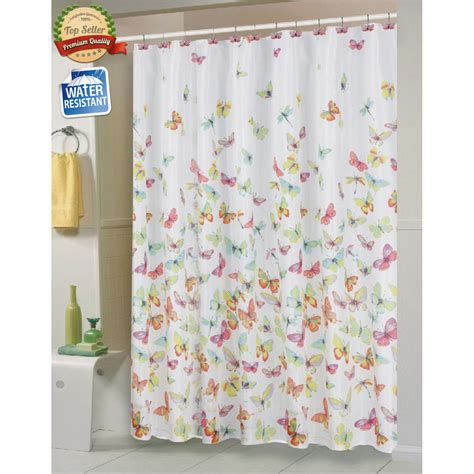 butterfly shower curtain shannon butterfly fabric shower curtain by carnation home