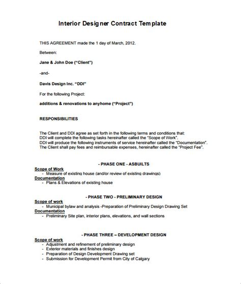 8+ Interior Designer Contract Templates - PDF, DOC