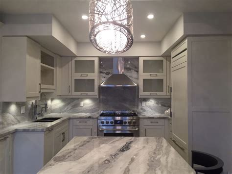 Mont blanc quartzite kitchen and full backsplash