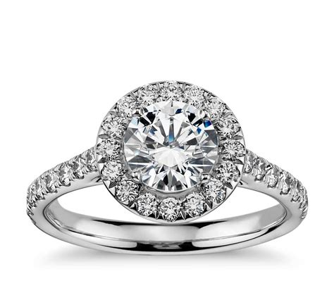 Wedding Rings by Halo Engagement Ring In 14k White Gold 1 2