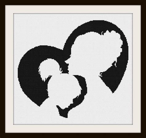mother  daughter silhouette cross stitch pattern