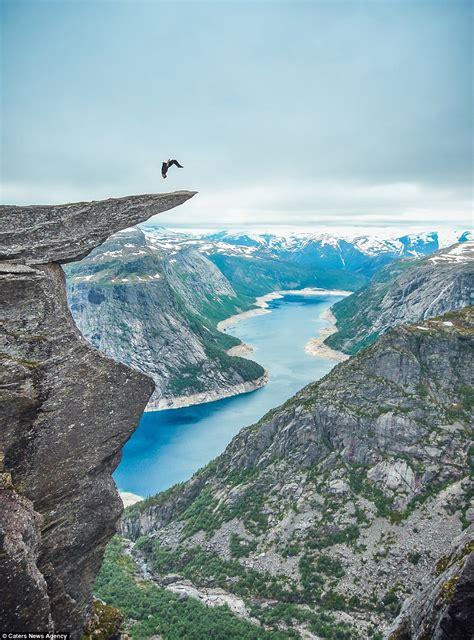 Toby Segar Performs Somersault On Edge Of Norways 700m