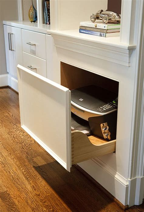 desk with printer drawer 20 clever ideas to design a functional office in your kitchen 6689