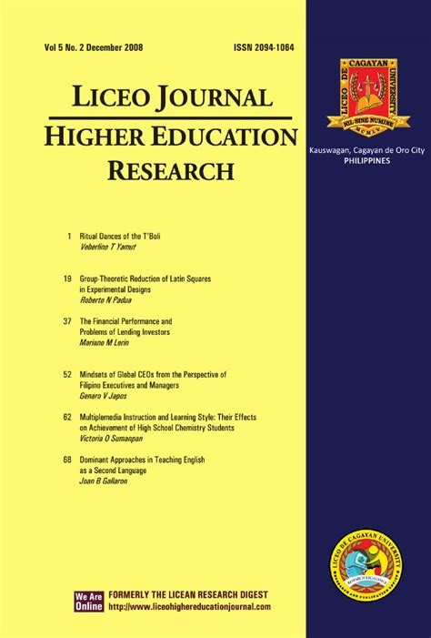 liceo journal  higher education research   brian