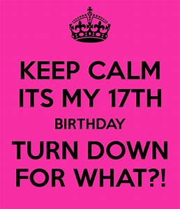 KEEP CALM ITS MY 17TH BIRTHDAY TURN DOWN FOR WHAT?! Poster ...