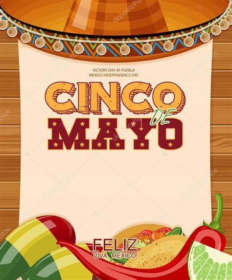 Cinco de Mayo. Poster with blank paper. Day victory at ...