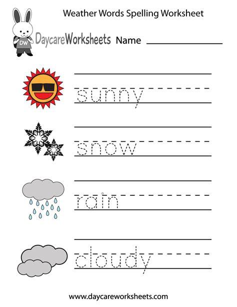 preschool weather words spelling worksheet