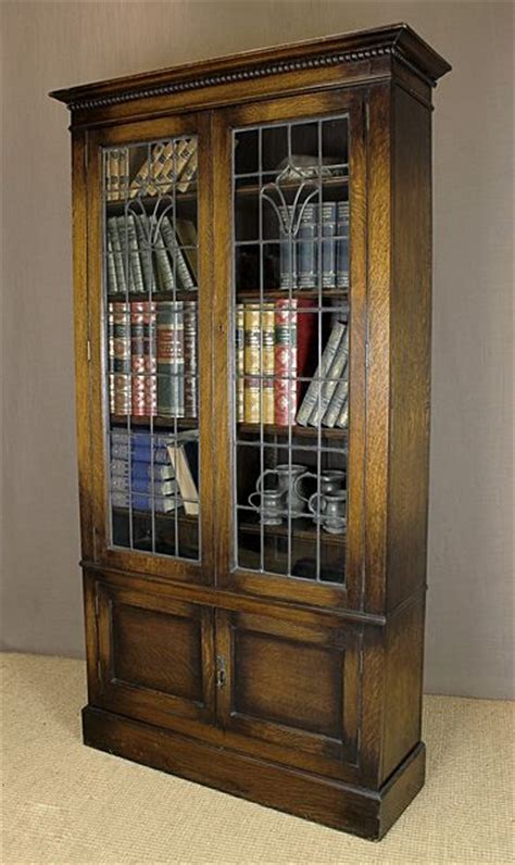 leaded glass bookcase barrister bookcase  leaded