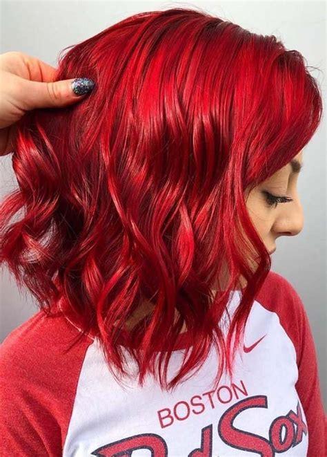 vibrant red hair color ideas    year