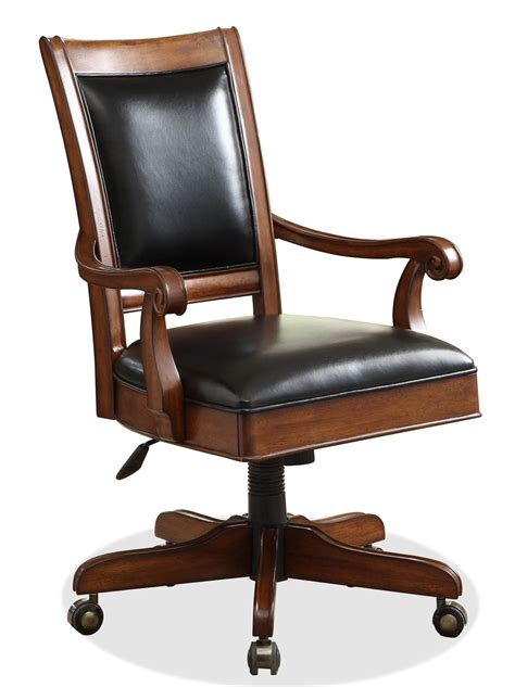 wood and leather desk chair riverside furniture bristol court 24538 caster equipped