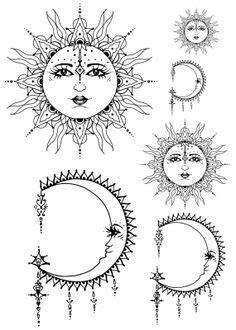 boho sun and moon drawing - Google Search | Tattoos, Tattoo designs, Love tattoos